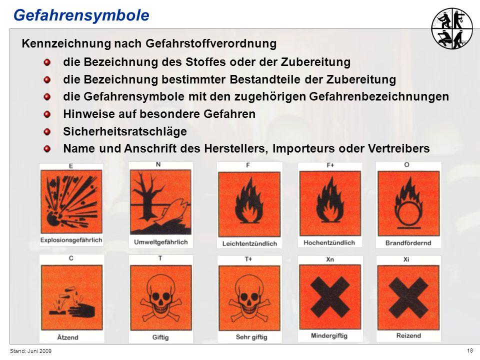 18 Stand: Juni 2009 Gefahrensymbole Kennzeichnung nach Gefahrstoffverordnung die Bezeichnung des Stoffes oder der Zubereitung die Bezeichnung bestimmt