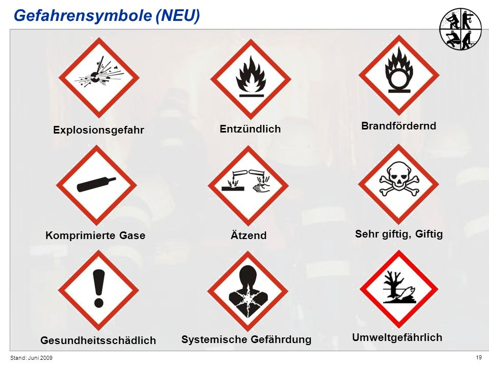 19 Stand: Juni 2009 Gefahrensymbole (NEU) Explosionsgefahr Entzündlich Gesundheitsschädlich Umweltgefährlich Systemische Gefährdung Komprimierte Gase
