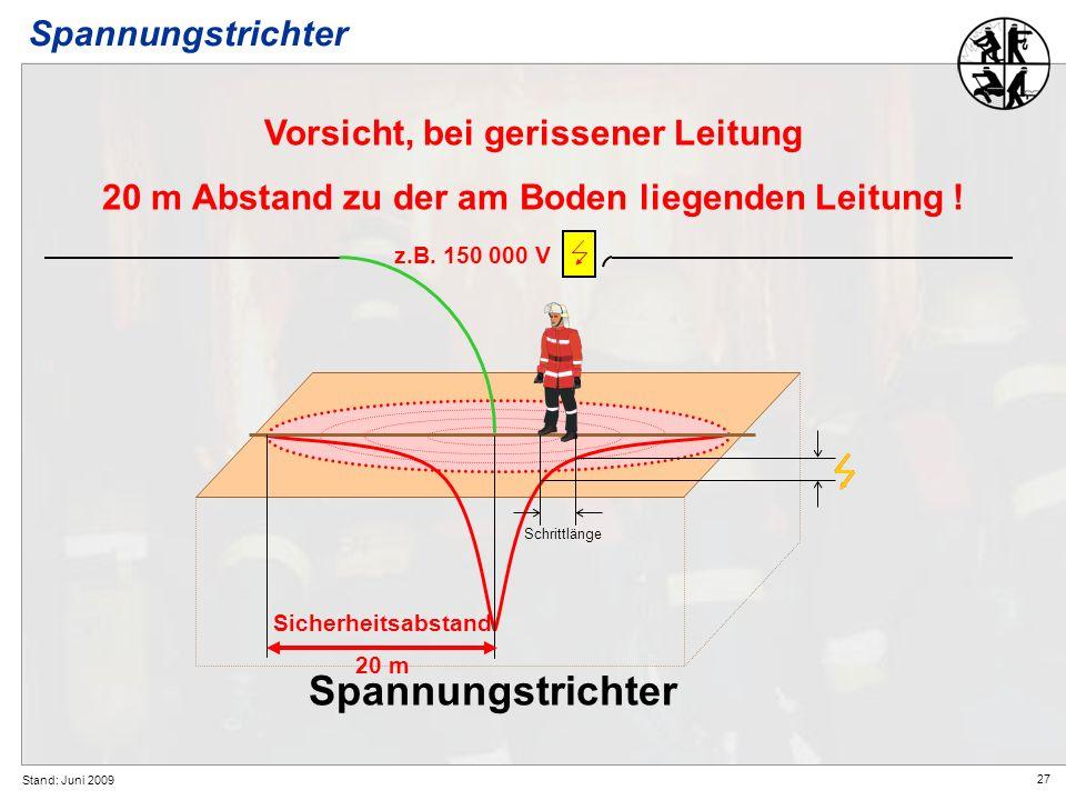27 Stand: Juni 2009 Spannungstrichter Vorsicht, bei gerissener Leitung 20 m Abstand zu der am Boden liegenden Leitung ! Spannungstrichter z.B. 150 000