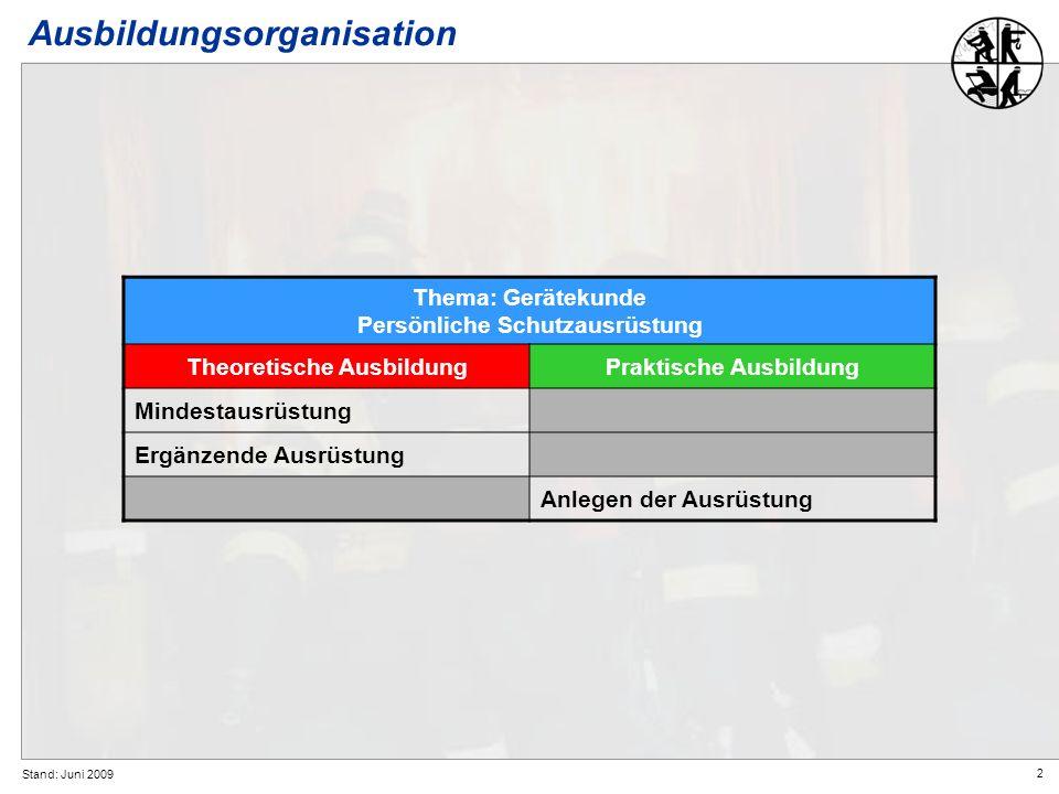 2 Stand: Juni 2009 Ausbildungsorganisation Thema: Gerätekunde Persönliche Schutzausrüstung Theoretische AusbildungPraktische Ausbildung Mindestausrüst