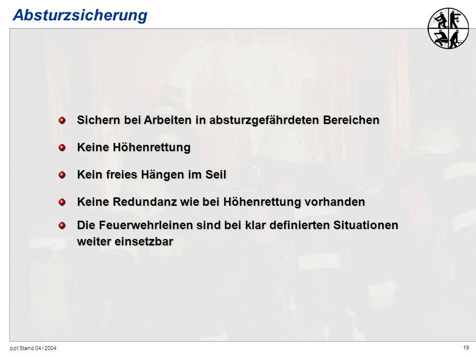 19 ppt Stand 04 / 2004 Absturzsicherung Sichern bei Arbeiten in absturzgefährdeten Bereichen Keine Höhenrettung Kein freies Hängen im Seil Keine Redun