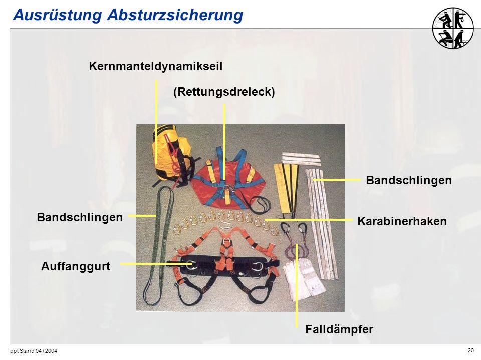 20 ppt Stand 04 / 2004 Ausrüstung Absturzsicherung Kernmanteldynamikseil Auffanggurt Bandschlingen Karabinerhaken Falldämpfer (Rettungsdreieck) Bandsc