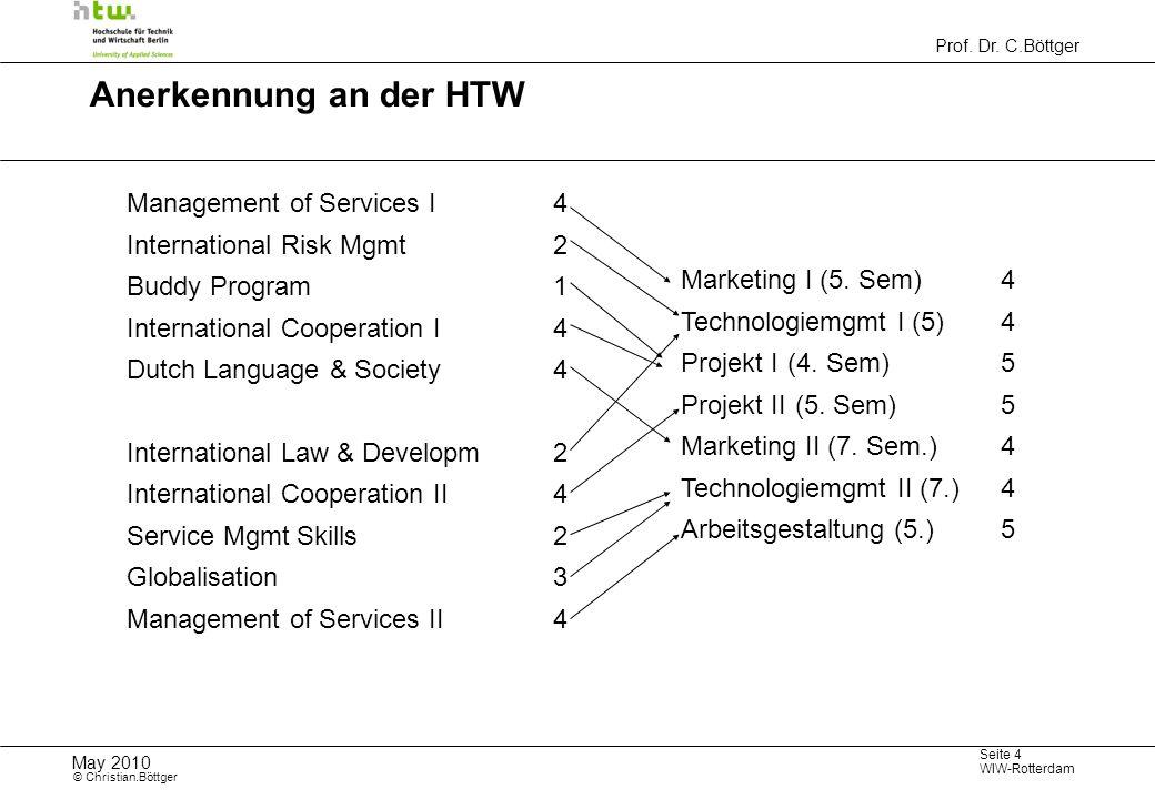Prof. Dr. C.Böttger Seite 4 WIW-Rotterdam May 2010 © Christian.Böttger Anerkennung an der HTW Management of Services I4 International Risk Mgmt2 Buddy