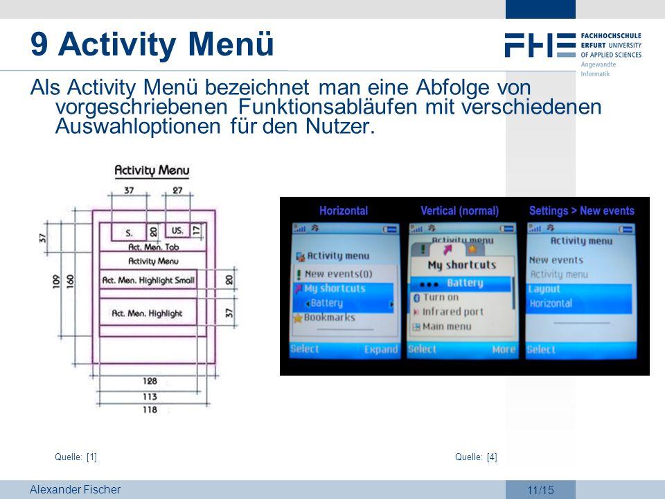 Alexander Fischer 11/15 9 Activity Menü Als Activity Menü bezeichnet man eine Abfolge von vorgeschriebenen Funktionsabläufen mit verschiedenen Auswahl