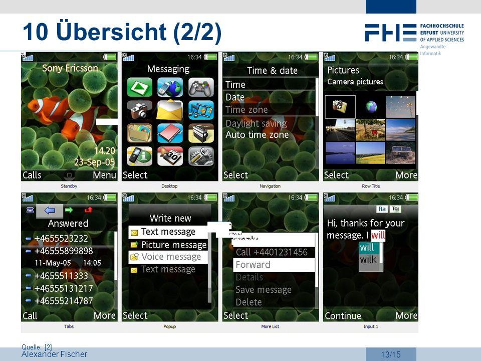 Alexander Fischer 13/15 10 Übersicht (2/2) Quelle: [2]