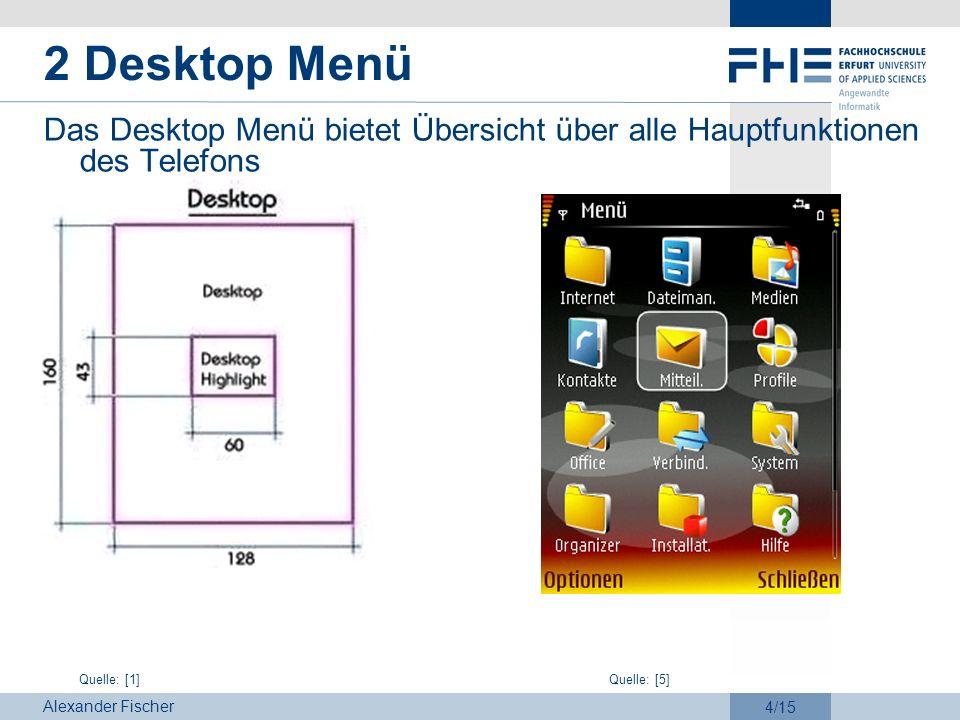 Alexander Fischer 4/15 2 Desktop Menü Das Desktop Menü bietet Übersicht über alle Hauptfunktionen des Telefons Quelle: [1]Quelle: [5]