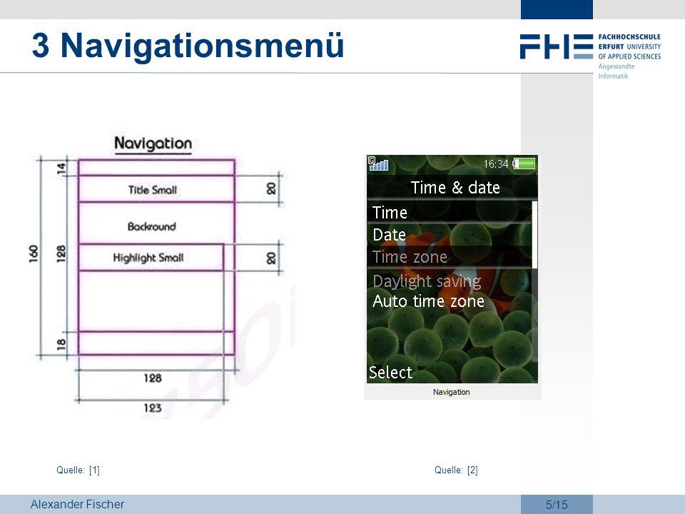 Alexander Fischer 5/15 3 Navigationsmenü Quelle: [1]Quelle: [2]