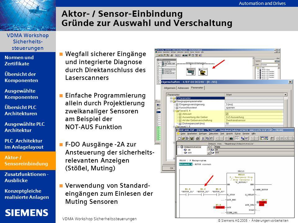 Automation and Drives A&D AS, 06/2005, Chart14 © Siemens AG 2005 - Änderungen vorbehalten VDMA Workshop Sicherheitssteuerungen VDMA Workshop Sicherhei