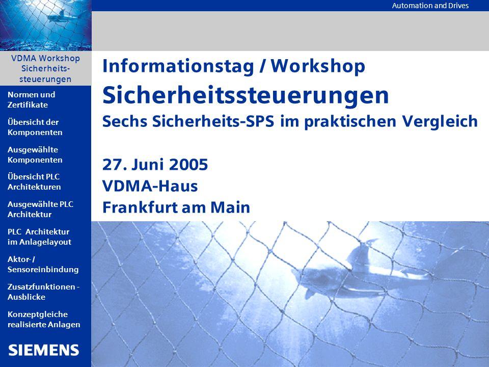 Automation and Drives A&D AS, 06/2005, Chart2 © Siemens AG 2005 - Änderungen vorbehalten VDMA Workshop Sicherheitssteuerungen VDMA Workshop Sicherheit
