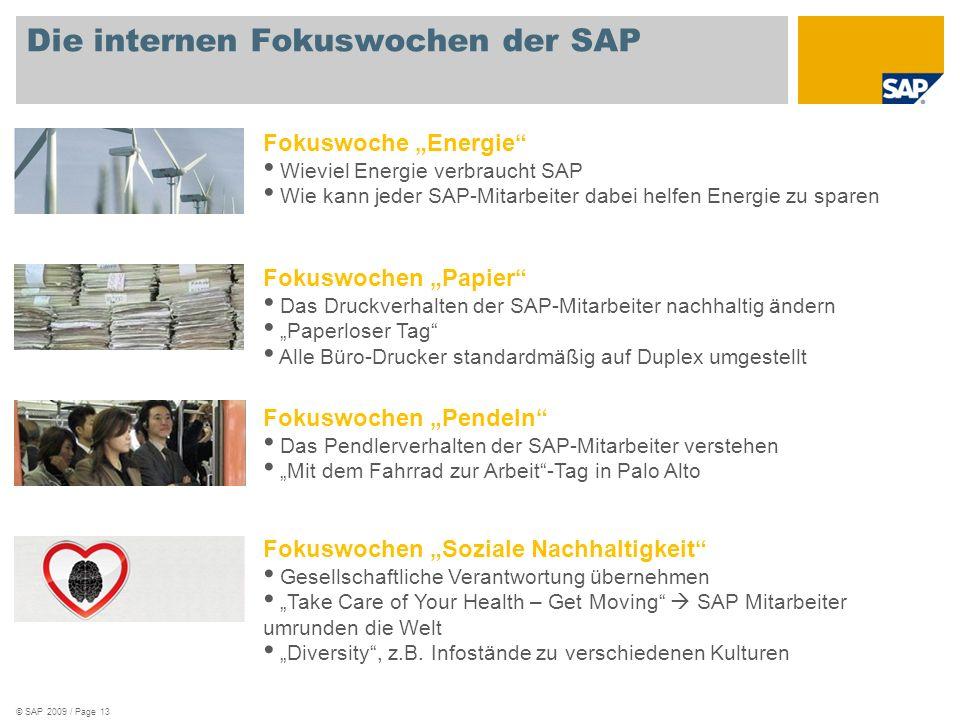 Die internen Fokuswochen der SAP © SAP 2009 / Page 13 Fokuswochen Soziale Nachhaltigkeit Gesellschaftliche Verantwortung übernehmen Take Care of Your Health – Get Moving SAP Mitarbeiter umrunden die Welt Diversity, z.B.