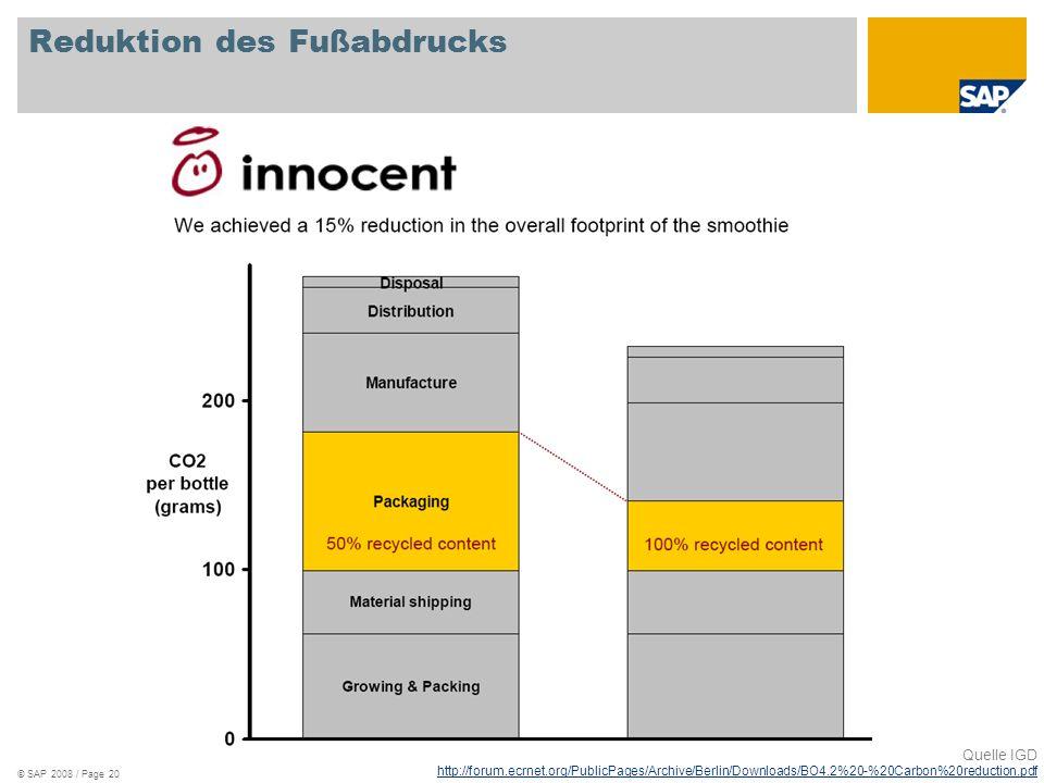 © SAP 2008 / Page 20 Reduktion des Fußabdrucks Quelle IGD http://forum.ecrnet.org/PublicPages/Archive/Berlin/Downloads/BO4.2%20-%20Carbon%20reduction.