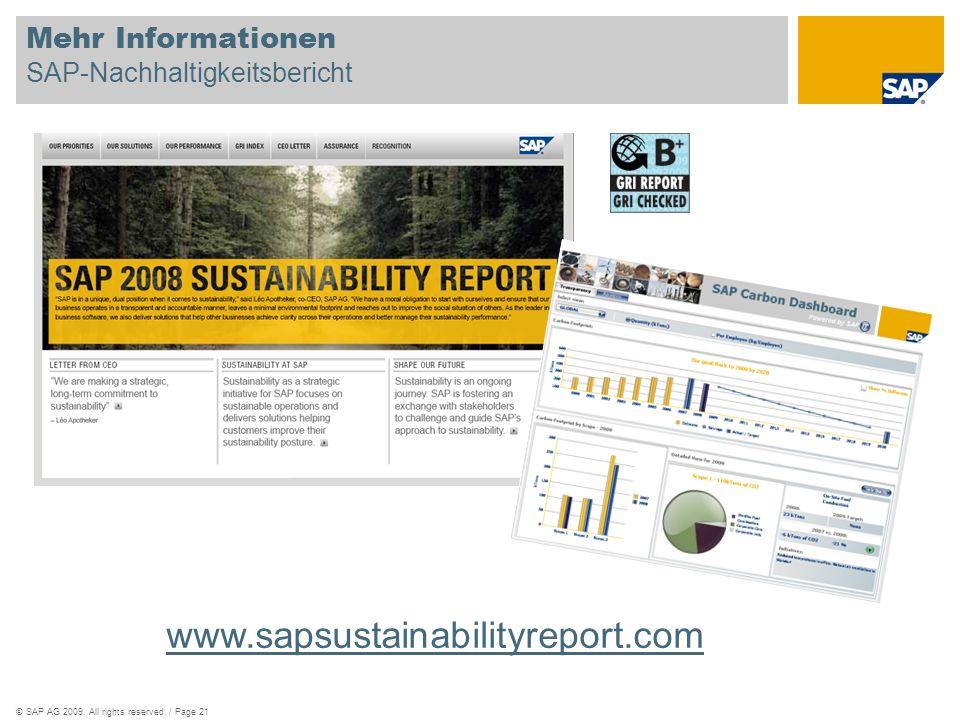 ©SAP AG 2009. All rights reserved. / Page 21 Mehr Informationen SAP-Nachhaltigkeitsbericht www.sapsustainabilityreport.com