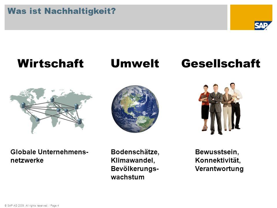 ©SAP AG 2009. All rights reserved. / Page 4 Was ist Nachhaltigkeit? Bodenschätze, Klimawandel, Bevölkerungs- wachstum Bewusstsein, Konnektivität, Vera