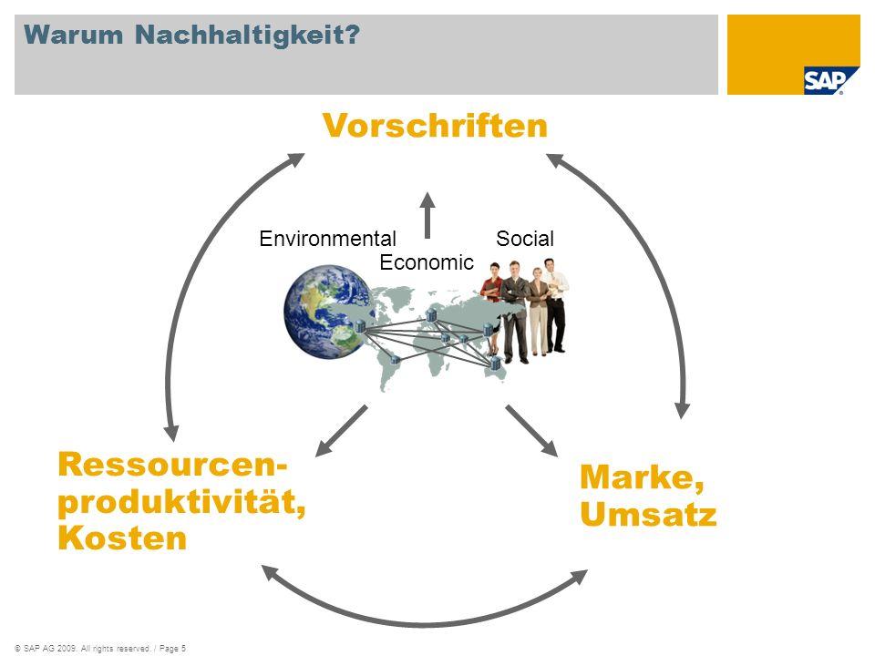 ©SAP AG 2009. All rights reserved. / Page 5 Warum Nachhaltigkeit? Vorschriften Marke, Umsatz EnvironmentalSocial Ressourcen- produktivität, Kosten Eco