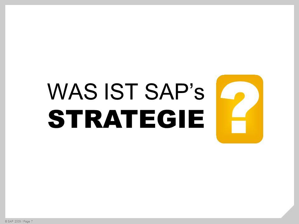 SAPs Duale Nachhaltigkeitsstrategie © SAP 2009 / Page 8 SAP als Vorbild Transformiere SAP in ein Rollenmodell für Nachhaltigkeit SAP als Anbieter Biete Kunden die besten Nachhaltigkeits- lösungen an