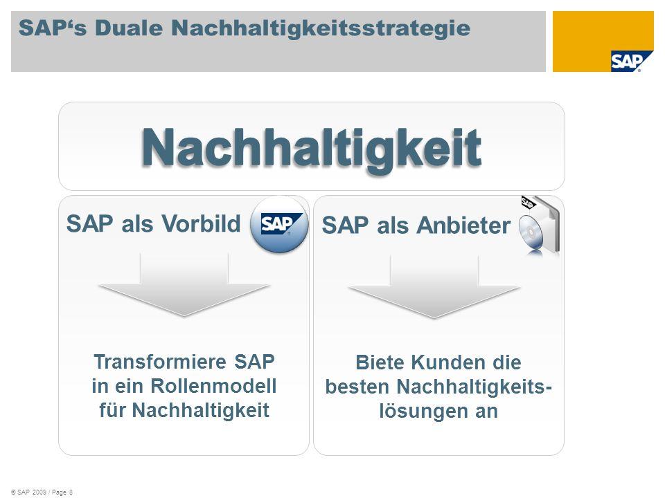 SAPs Duale Nachhaltigkeitsstrategie © SAP 2009 / Page 8 SAP als Vorbild Transformiere SAP in ein Rollenmodell für Nachhaltigkeit SAP als Anbieter Biet