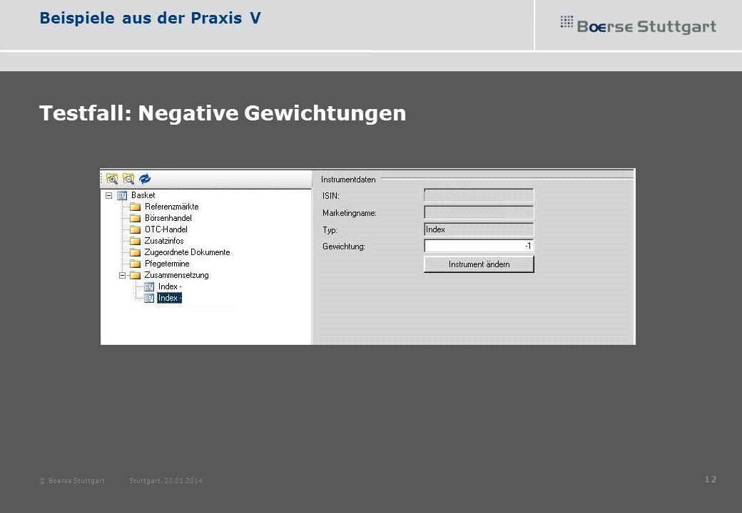 Beispiele aus der Praxis V Testfall: Negative Gewichtungen © Boerse Stuttgart Stuttgart, 20.01.2014 12