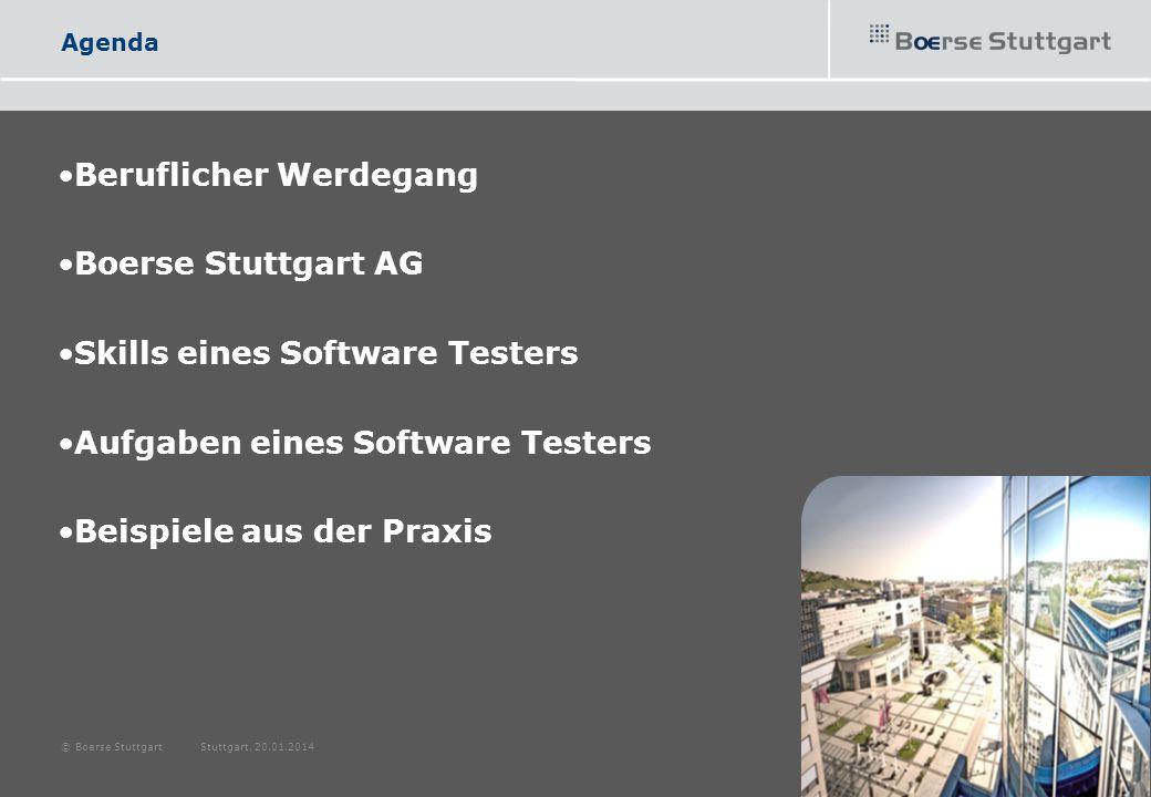 Beruflicher Werdegang Studium der Angewandten Informatik 3 Jahre Software Ingenieur sd&m AG 1 Jahr Software Qualitätssicherung Heiler Software AG Heute Software Qualitätssicherung Boerse Stuttgart AG © Boerse Stuttgart Stuttgart, 20.01.2014 3