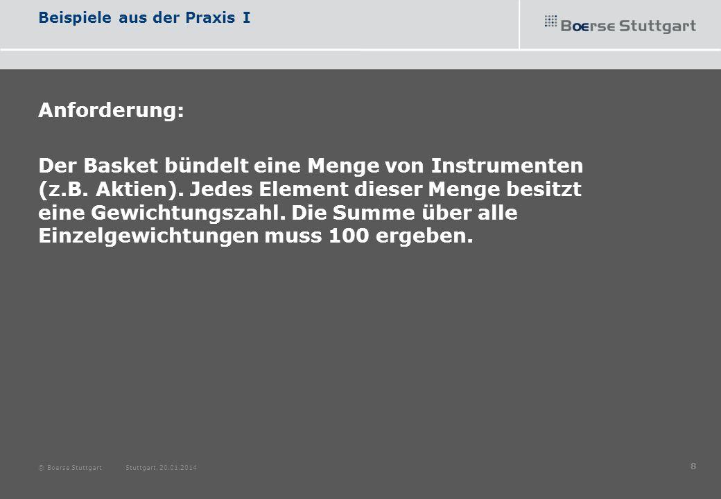 Beispiele aus der Praxis I Anforderung: Der Basket bündelt eine Menge von Instrumenten (z.B. Aktien). Jedes Element dieser Menge besitzt eine Gewichtu
