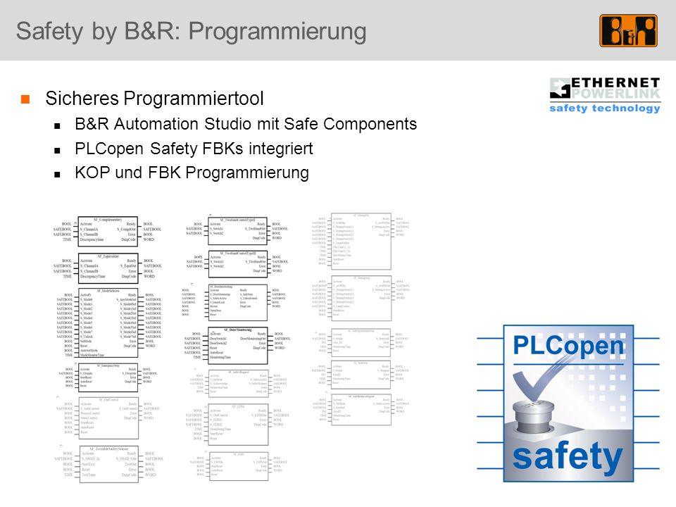Safety by B&R: Programmierung Sicheres Programmiertool B&R Automation Studio mit Safe Components PLCopen Safety FBKs integriert KOP und FBK Programmie