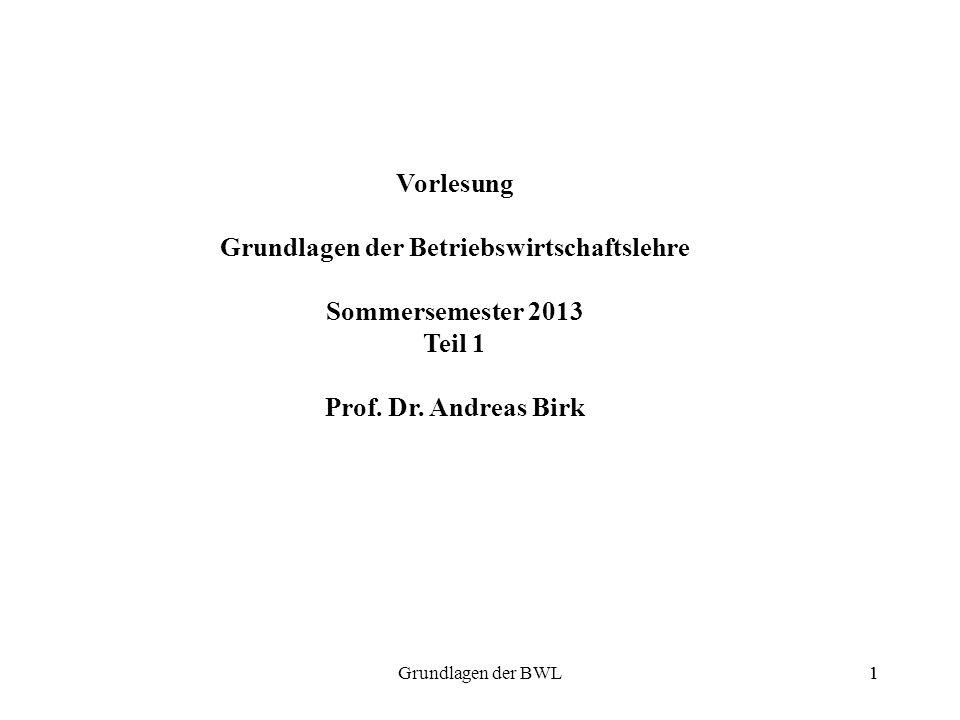 1Grundlagen der BWL1 Vorlesung Grundlagen der Betriebswirtschaftslehre Sommersemester 2013 Teil 1 Prof. Dr. Andreas Birk
