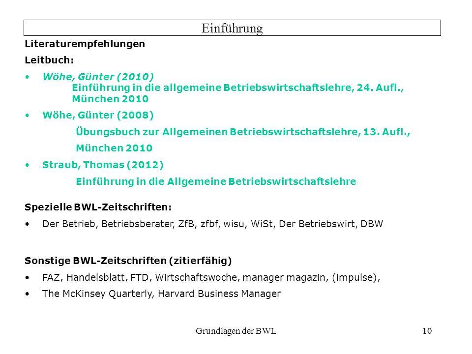 10Grundlagen der BWL10 Literaturempfehlungen Leitbuch: Wöhe, Günter (2010) Einführung in die allgemeine Betriebswirtschaftslehre, 24. Aufl., München 2