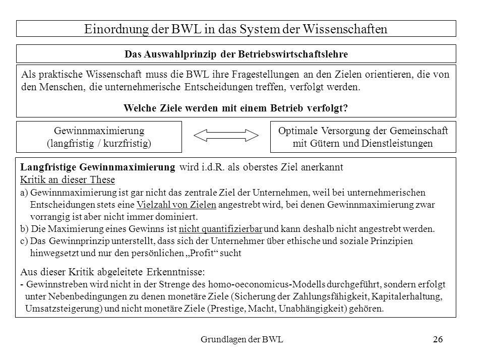 26Grundlagen der BWL26 Einordnung der BWL in das System der Wissenschaften Das Auswahlprinzip der Betriebswirtschaftslehre Als praktische Wissenschaft