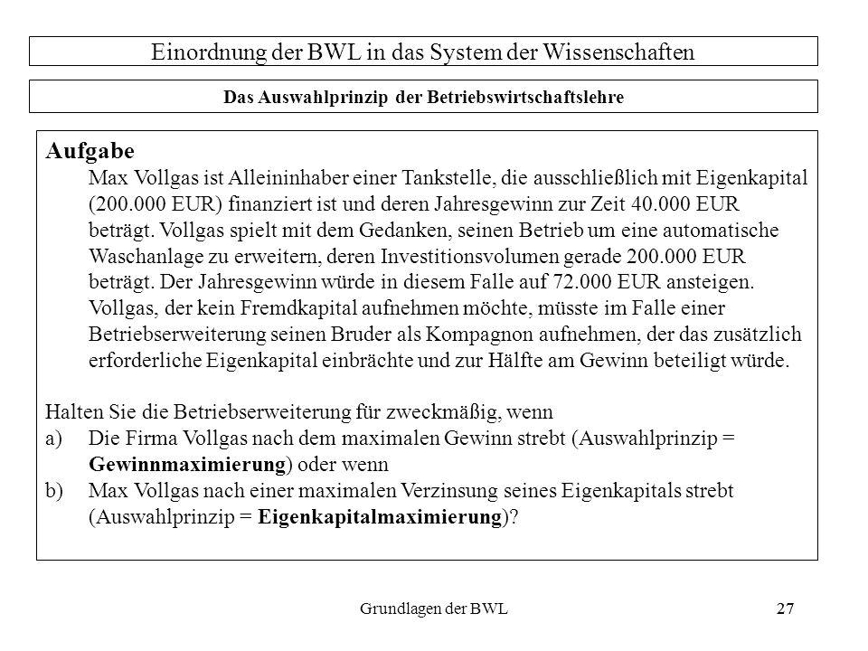 27Grundlagen der BWL27 Aufgabe Max Vollgas ist Alleininhaber einer Tankstelle, die ausschließlich mit Eigenkapital (200.000 EUR) finanziert ist und de