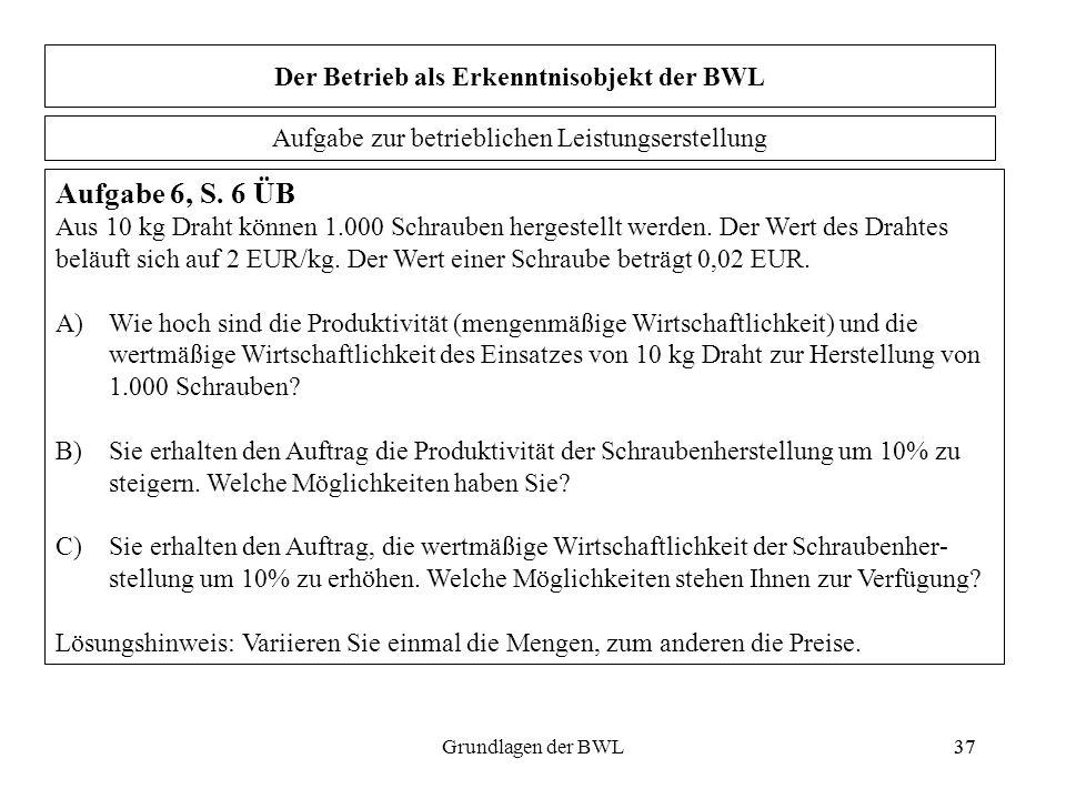 37Grundlagen der BWL37 Der Betrieb als Erkenntnisobjekt der BWL Aufgabe 6, S. 6 ÜB Aus 10 kg Draht können 1.000 Schrauben hergestellt werden. Der Wert