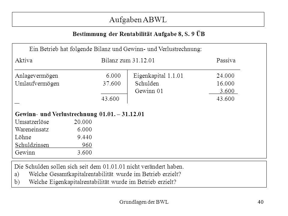 40Grundlagen der BWL40 Aufgaben ABWL Ein Betrieb hat folgende Bilanz und Gewinn- und Verlustrechnung: AktivaBilanz zum 31.12.01 Passiva Anlagevermögen