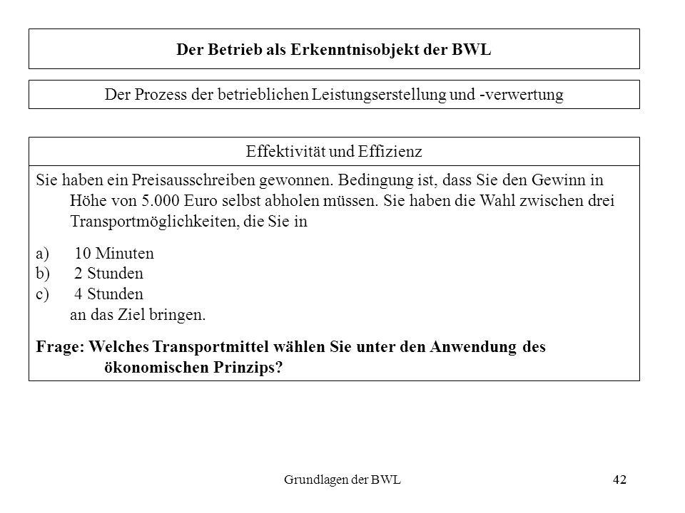 42Grundlagen der BWL42 Der Betrieb als Erkenntnisobjekt der BWL Sie haben ein Preisausschreiben gewonnen. Bedingung ist, dass Sie den Gewinn in Höhe v
