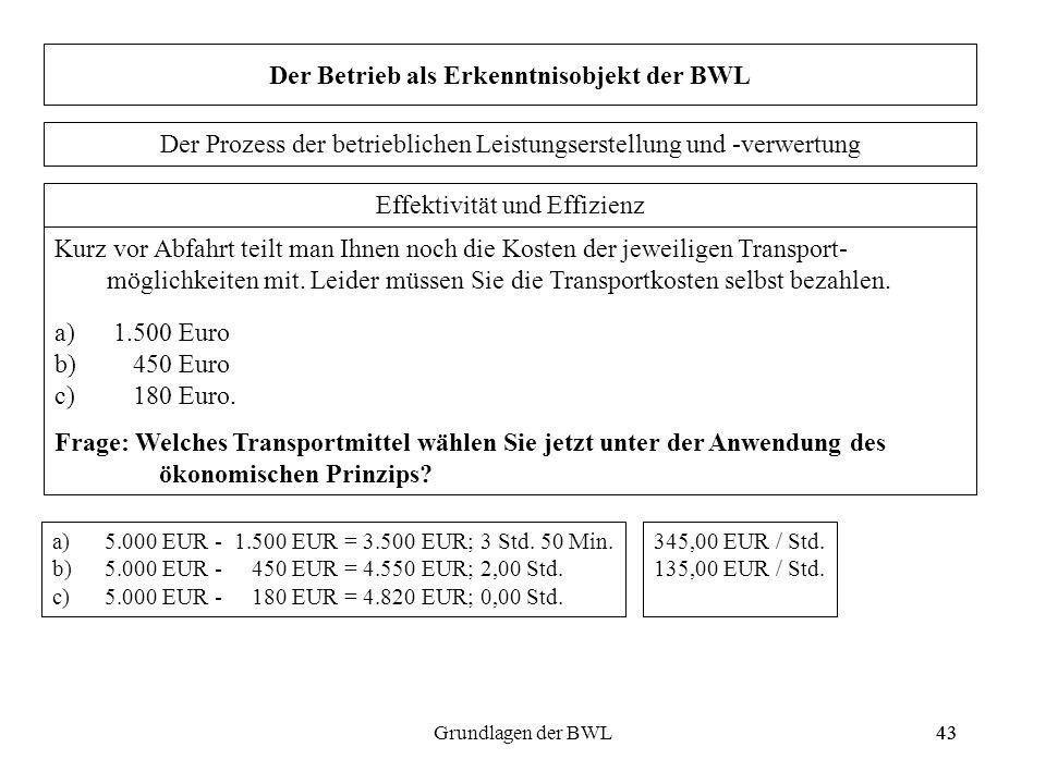 43Grundlagen der BWL43 Der Betrieb als Erkenntnisobjekt der BWL Effektivität und Effizienz Kurz vor Abfahrt teilt man Ihnen noch die Kosten der jeweil