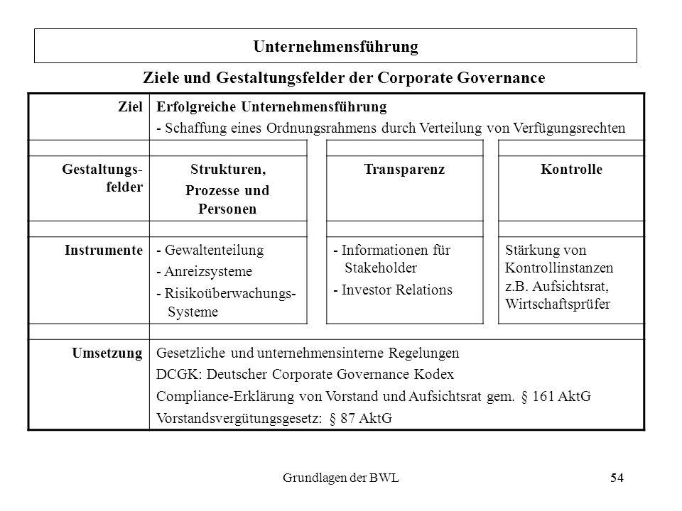 54Grundlagen der BWL54 ZielErfolgreiche Unternehmensführung - Schaffung eines Ordnungsrahmens durch Verteilung von Verfügungsrechten Gestaltungs- feld