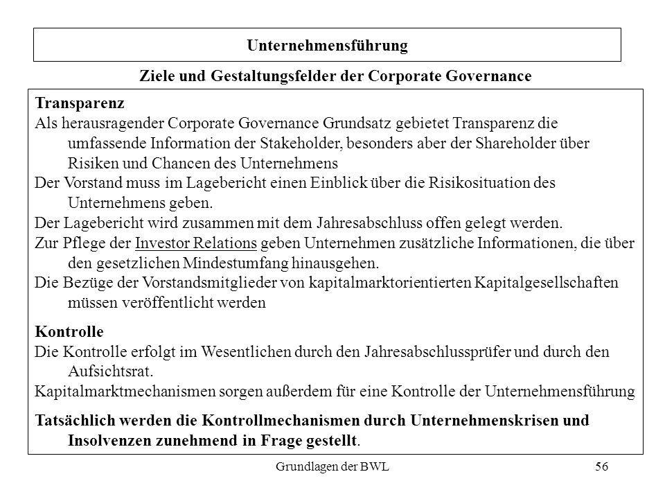56 Unternehmensführung Ziele und Gestaltungsfelder der Corporate Governance Transparenz Als herausragender Corporate Governance Grundsatz gebietet Tra