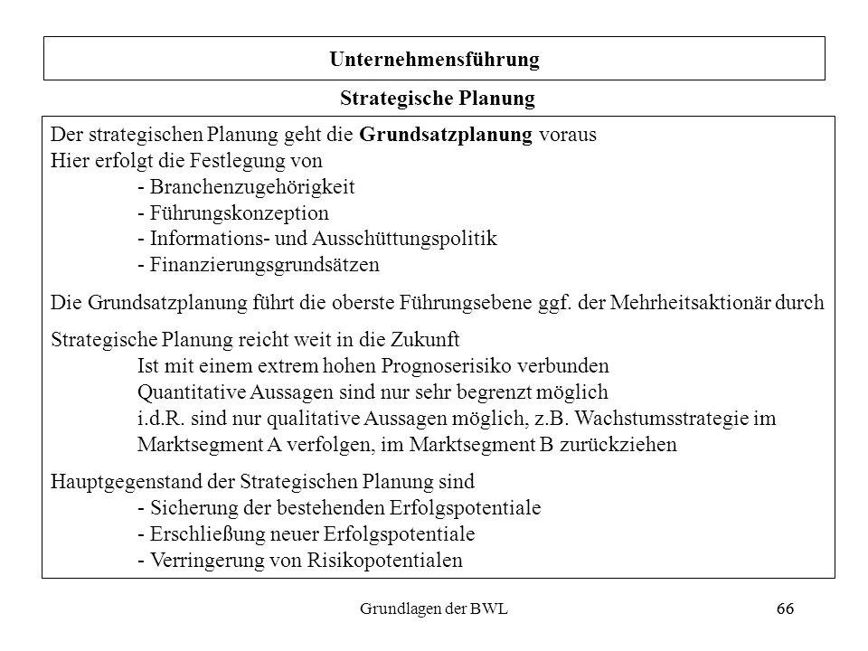 66Grundlagen der BWL66 Unternehmensführung Strategische Planung Der strategischen Planung geht die Grundsatzplanung voraus Hier erfolgt die Festlegung