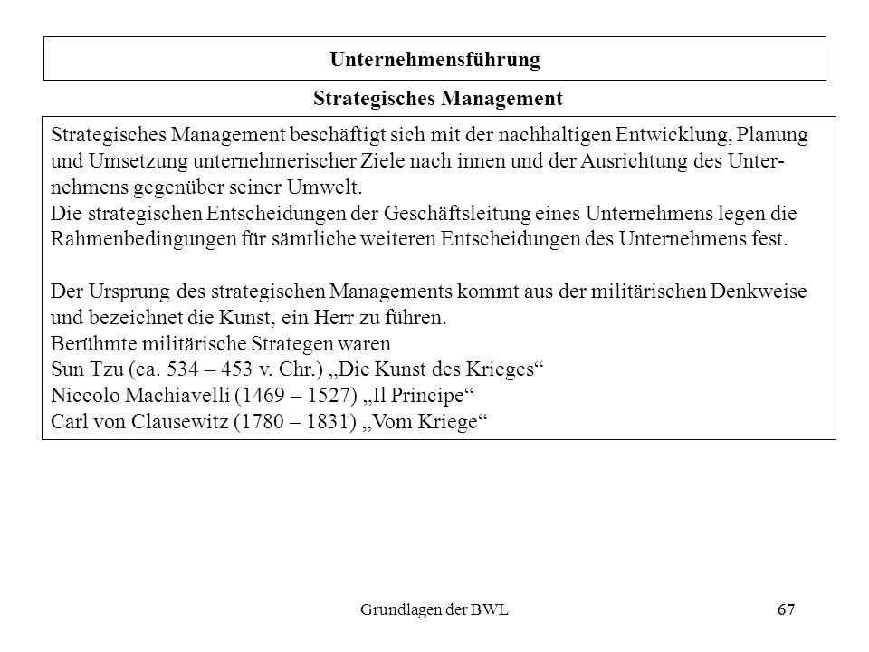 67Grundlagen der BWL67 Unternehmensführung Strategisches Management Strategisches Management beschäftigt sich mit der nachhaltigen Entwicklung, Planun