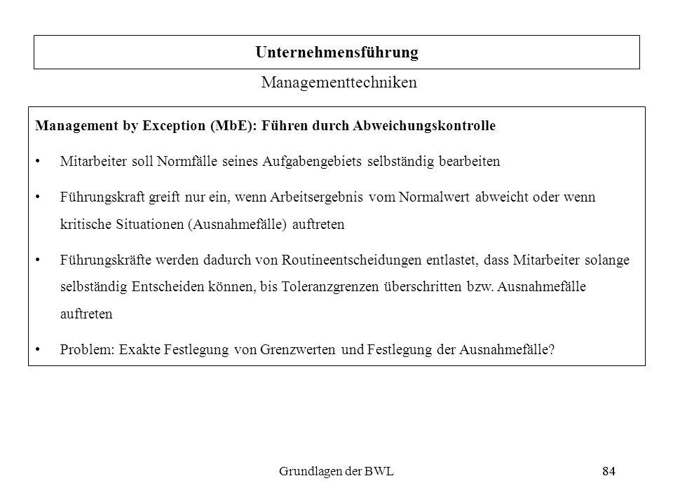 84Grundlagen der BWL84 Management by Exception (MbE): Führen durch Abweichungskontrolle Mitarbeiter soll Normfälle seines Aufgabengebiets selbständig
