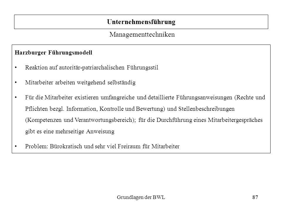 87Grundlagen der BWL87 Harzburger Führungsmodell Reaktion auf autoritär-patriarchalischen Führungsstil Mitarbeiter arbeiten weitgehend selbständig Für