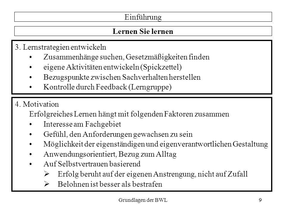 9Grundlagen der BWL9 Einführung Lernen Sie lernen 3. Lernstrategien entwickeln Zusammenhänge suchen, Gesetzmäßigkeiten finden eigene Aktivitäten entwi