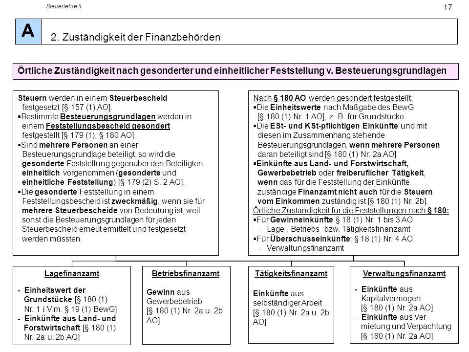 Steuerlehre II 17 Örtliche Zuständigkeit nach gesonderter und einheitlicher Feststellung v. Besteuerungsgrundlagen Steuern werden in einem Steuerbesch