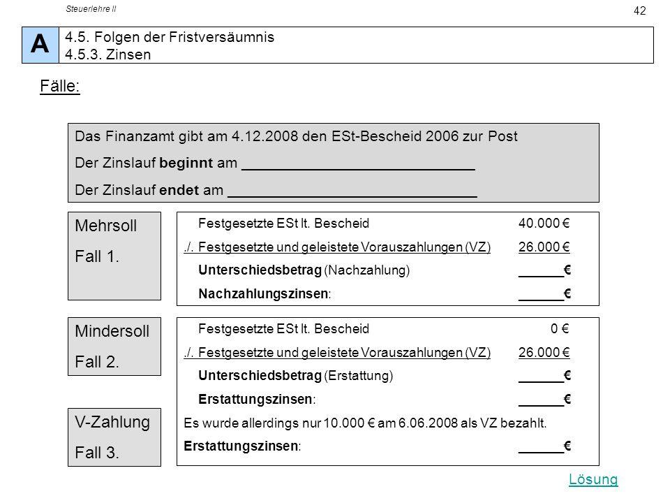 Steuerlehre II 42 Das Finanzamt gibt am 4.12.2008 den ESt-Bescheid 2006 zur Post Der Zinslauf beginnt am ____________________________ Der Zinslauf end