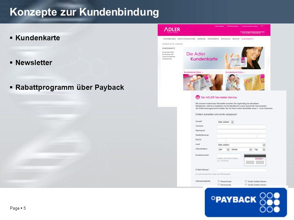 Page 5 Konzepte zur Kundenbindung Kundenkarte Newsletter Rabattprogramm über Payback
