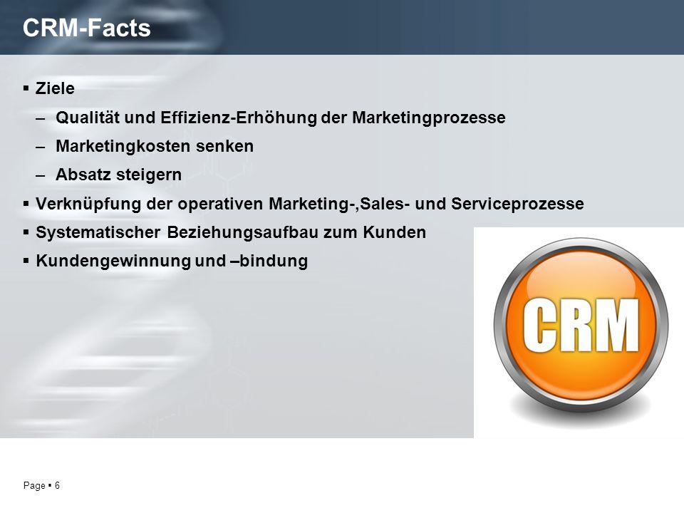Page 6 CRM-Facts Ziele –Qualität und Effizienz-Erhöhung der Marketingprozesse –Marketingkosten senken –Absatz steigern Verknüpfung der operativen Marketing-,Sales- und Serviceprozesse Systematischer Beziehungsaufbau zum Kunden Kundengewinnung und –bindung
