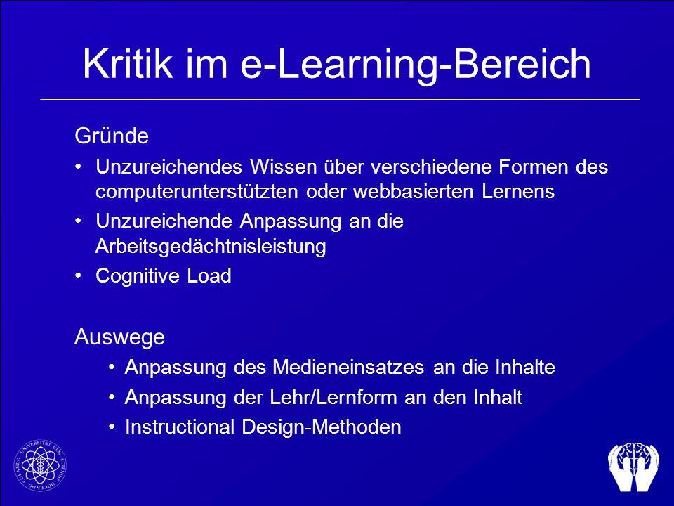 Kritik im e-Learning-Bereich Gründe Unzureichendes Wissen über verschiedene Formen des computerunterstützten oder webbasierten Lernens Unzureichende A