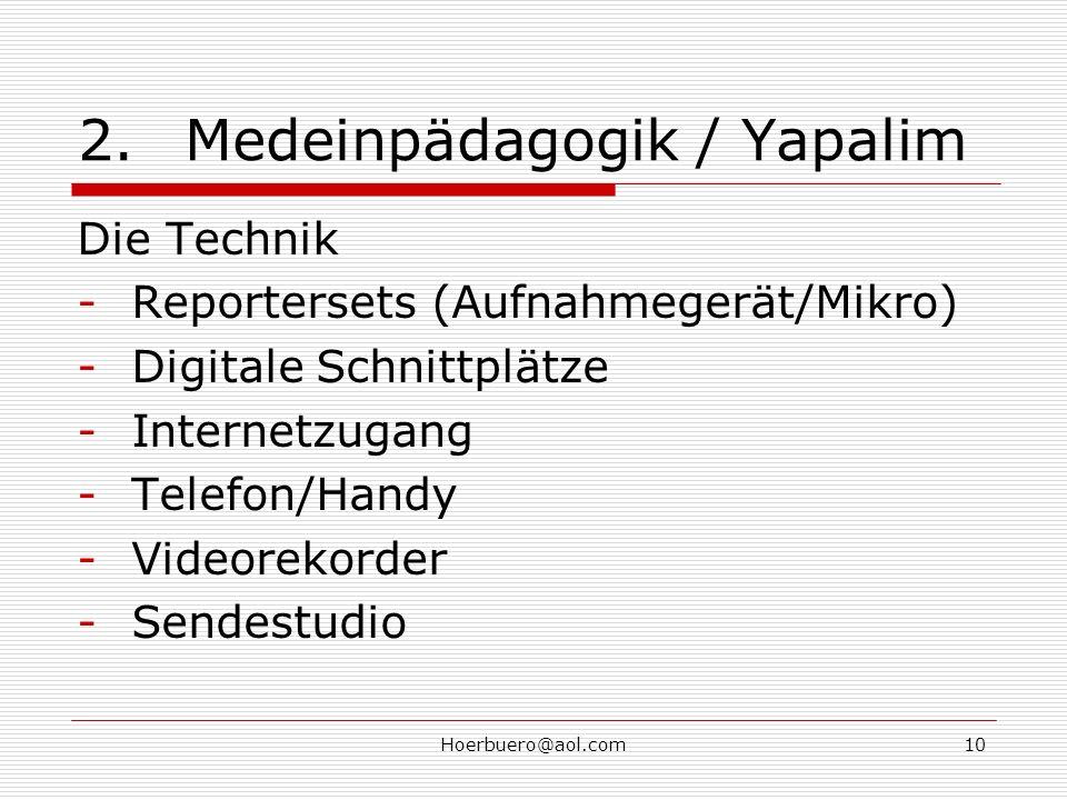 Hoerbuero@aol.com10 2.Medeinpädagogik / Yapalim Die Technik -Reportersets (Aufnahmegerät/Mikro) -Digitale Schnittplätze -Internetzugang -Telefon/Handy -Videorekorder -Sendestudio