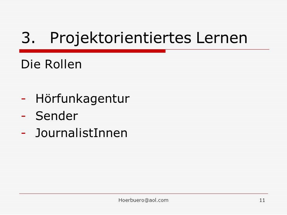 Hoerbuero@aol.com11 3.Projektorientiertes Lernen Die Rollen -Hörfunkagentur -Sender -JournalistInnen