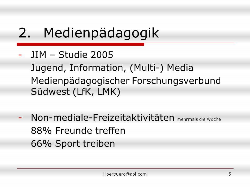 Hoerbuero@aol.com5 2.Medienpädagogik -JIM – Studie 2005 Jugend, Information, (Multi-) Media Medienpädagogischer Forschungsverbund Südwest (LfK, LMK) -Non-mediale-Freizeitaktivitäten mehrmals die Woche 88% Freunde treffen 66% Sport treiben