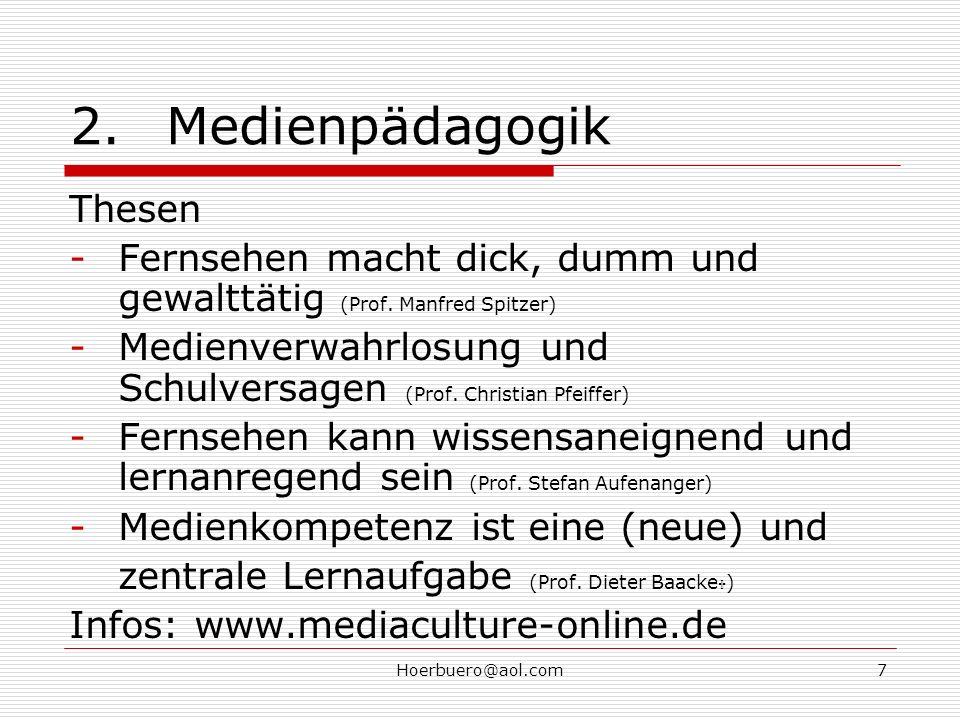 Hoerbuero@aol.com7 2.Medienpädagogik Thesen -Fernsehen macht dick, dumm und gewalttätig (Prof.