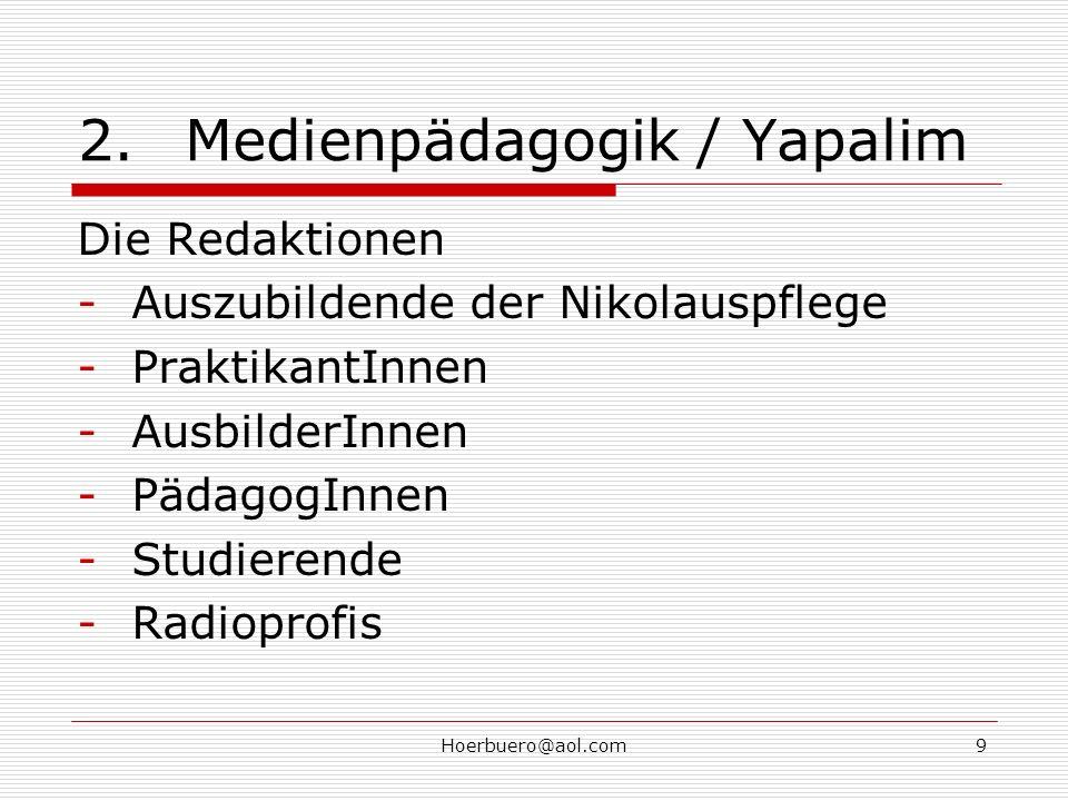 Hoerbuero@aol.com9 2.Medienpädagogik / Yapalim Die Redaktionen -Auszubildende der Nikolauspflege -PraktikantInnen -AusbilderInnen -PädagogInnen -Studierende -Radioprofis