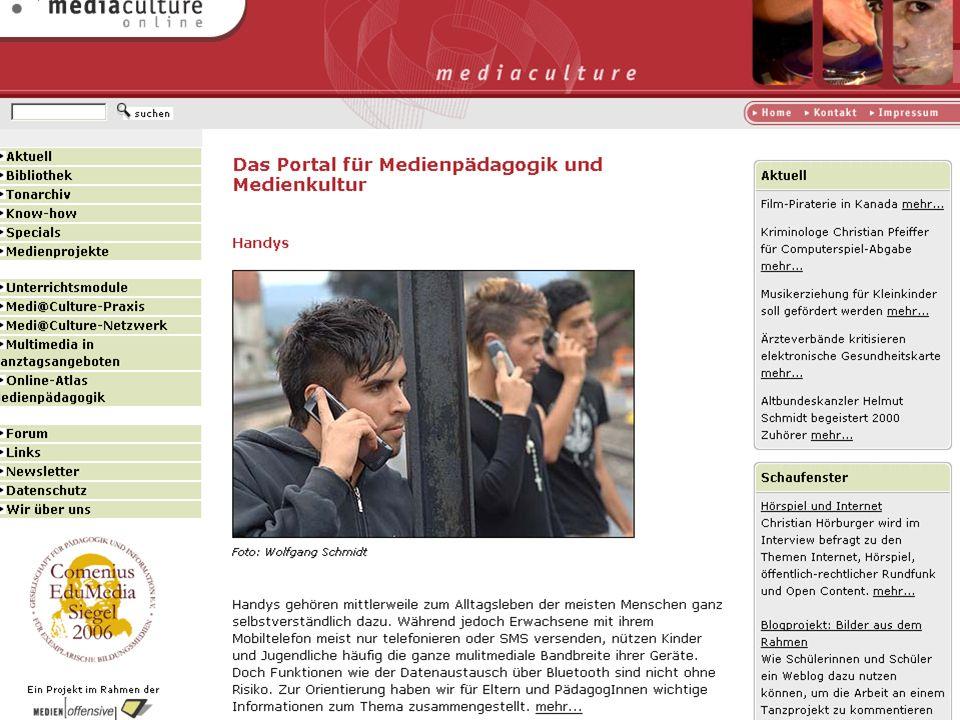 http://www.mediaculture-online.de Unterrichtsmodule zur Medienerziehung, abgestimmt auf die Bildungspläne in Baden-Württemberg